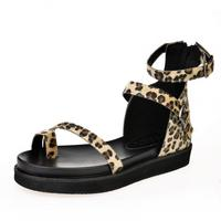 New style Cheap Fashion Flat Low Heel Ankle Strap Leopard PU Sandals