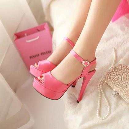 2015 summer new Ultra high heels fish head high sandals fine with sexy elegant women shoes sweet temperament wild commuter