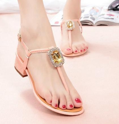 2015 summer fashion shoes flat low-heeled sandals women's bohemia sandals clip toe gladiator free shipping