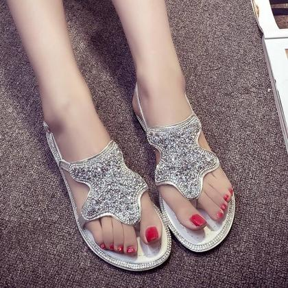 259150368502 Shoespie Sequined Thong Flat Sandals