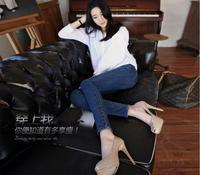 2015 new spring and autumn elastic slim denim blue pencil long design women jeans